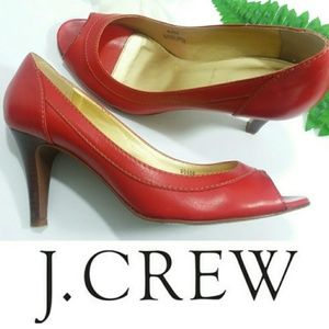 J CREW 👄RED LEATHER Heels| Made in ITALY